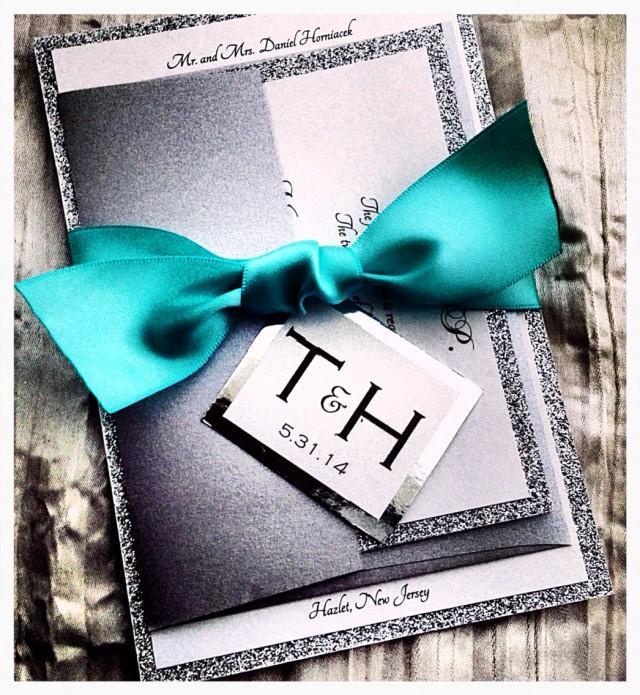 teal wedding invitations  silver glitter wedding