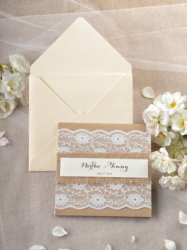 Custom Listing 20 Rustic Wedding Invitation Lace Wedding