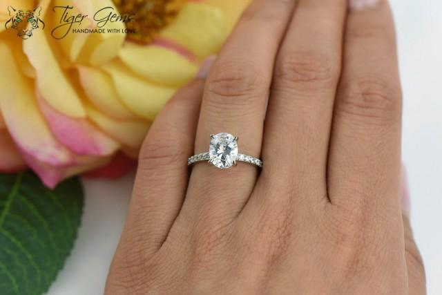 2 Carat Oval Solitaire Ring Blake Engagement Ring Half