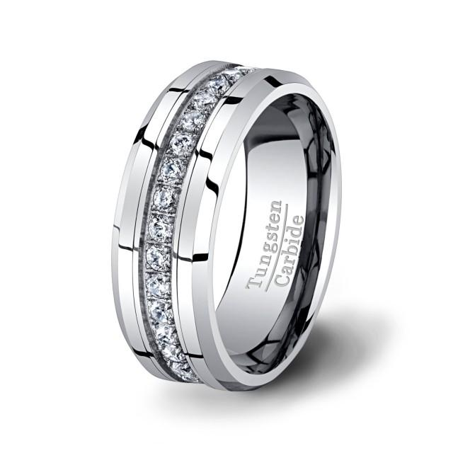 4ee35d205675 Mens Wedding Band High End Tungsten Ring Stacked CZ Diamonds 8mm Beveled  Edge Polished Surface With Beveled Edges Comfort Fit  2431564 - Weddbook