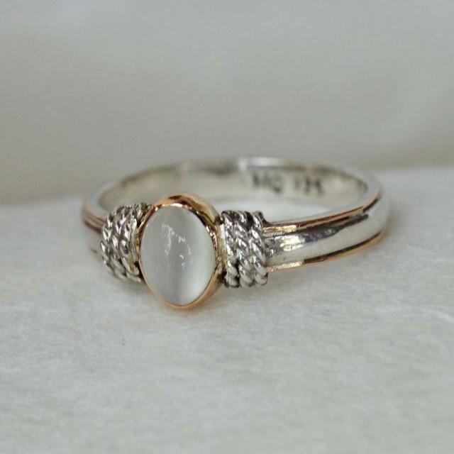 Bohamian Engagement Ring Silver 925 Gold 18k Moonstone