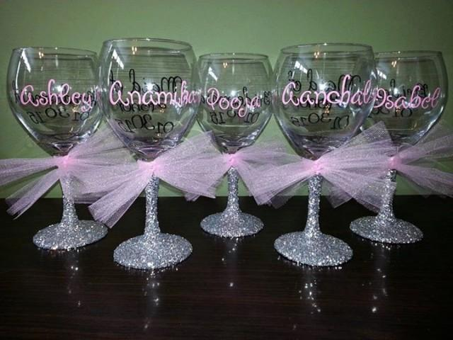 Bridesmaid Glitter Stemmed Wine Glasses Bride And Groom