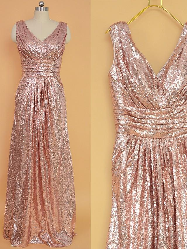Sequin bridesmaid dress rose gold long sequins prom for Wedding dress stores in arkansas
