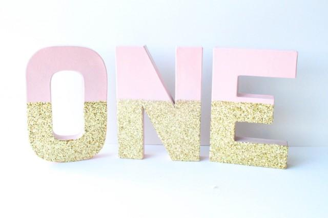 """Gold And Blush Glitter Letters, """"ONE"""", 1, 1st Birthday ..."""