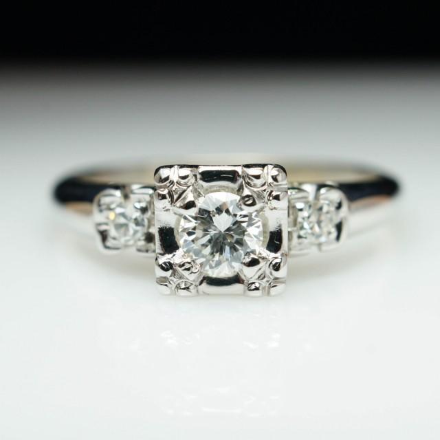 Vintage Art Deco Illusion Set Diamond Engagement Ring 14k