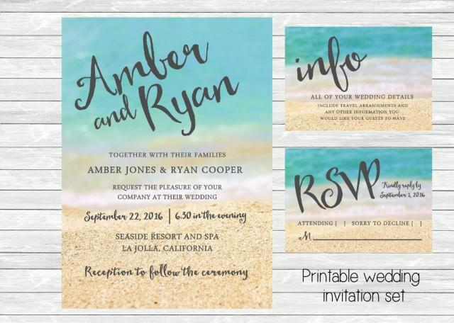 Beach Wedding Invitation. Ocean And Sand In The Background