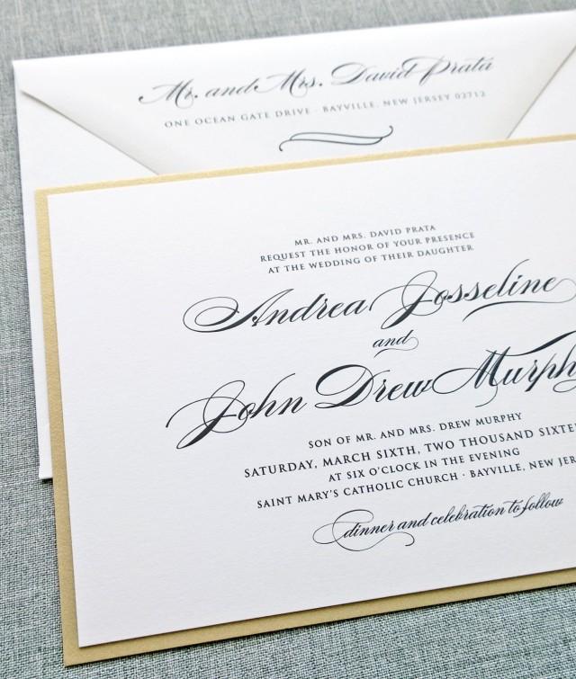 Andrea Script Metallic Gold Layered Wedding Invitation Sample   Elegant  Classic Formal Wedding Invitation #2432028   Weddbook