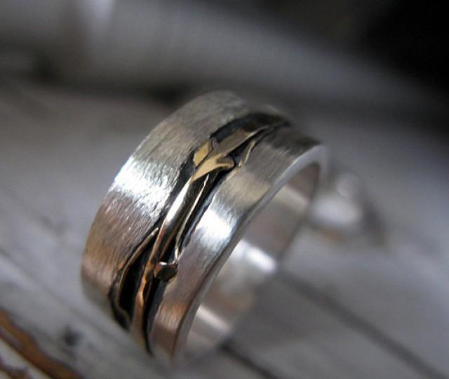 Mens Wedding Band Mens Wedding Ring Silver Gold Ring