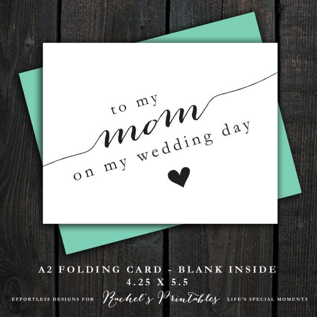 Wedding Gift Thank Yous: To My Mom On My Wedding Day Card DIY Instant Download Card