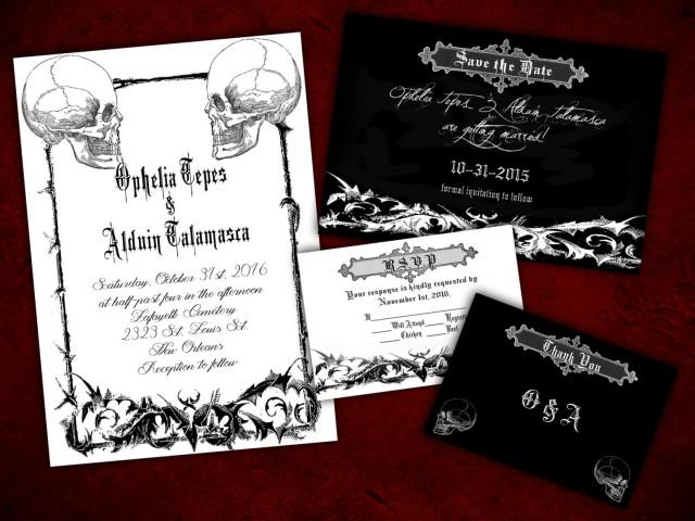 two souls gothic halloween wedding invitation  save the date  rsvp  and thank you digital file