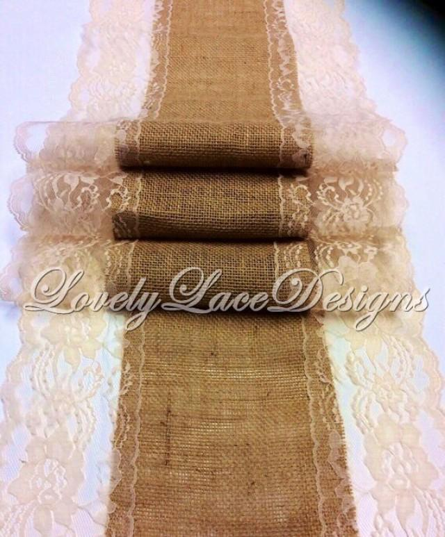 Burlap table runner 5ft 10ft x 13in wide natural lace for 10 foot table runner
