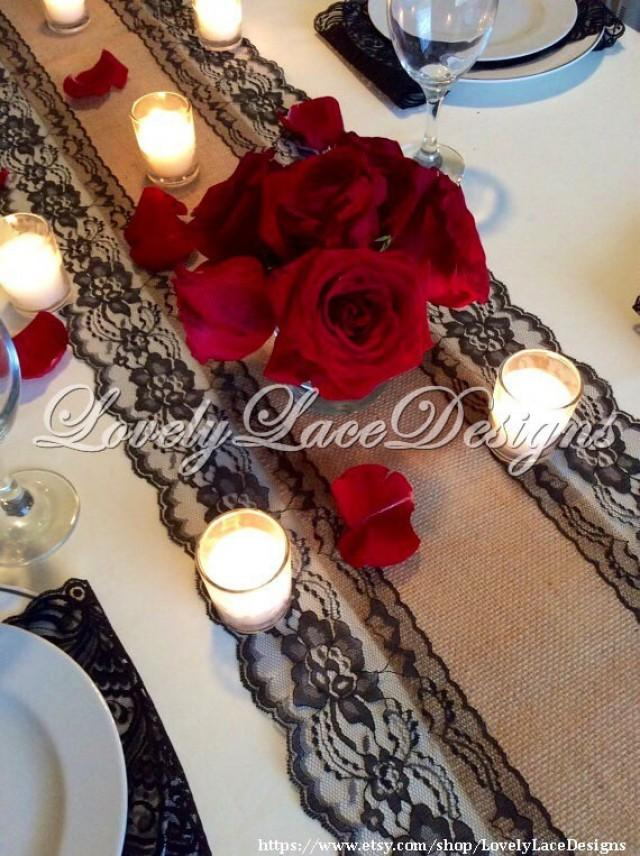 Burlap Lace Runner 12ft 20ft Wedding Table Runner With Black Lace