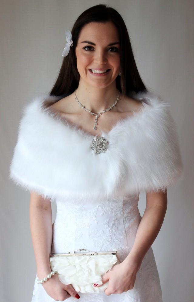 White Faux Fur Wrap Bridal Wrap Bridal Shrug Fur Stole Bridal