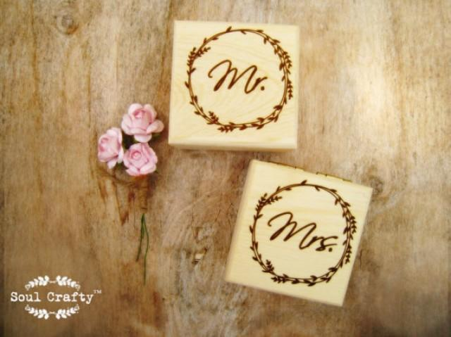 Retro Wedding Gifts: Personalized Mr Mrs Rustic Wood Ring Bearer Box Rustic