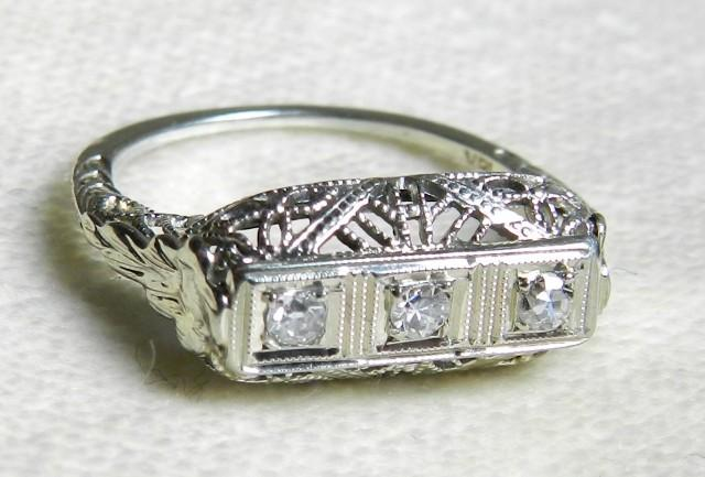 Antique Engagement Ring 18 K 1920s Old Cut Diamond Orange