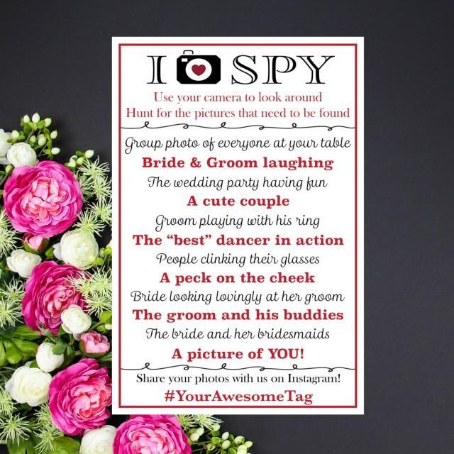 Fun Wedding Reception Ideas Activities: I Spy Wedding Game CUSTOM PRINTABLE With Your Hashtag
