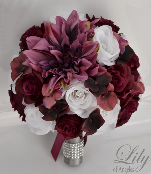 17 Piece Package Wedding Bouquet Bride Silk Flowers Bridal Party
