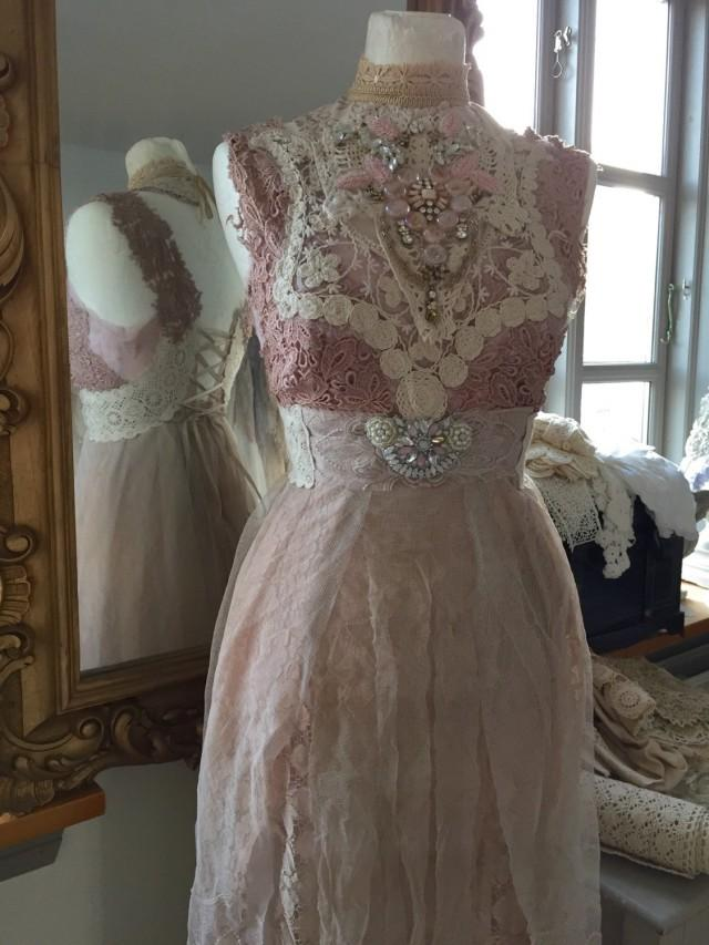 Vintage inspired wedding rose colored fairy dresses for Fairytale inspired wedding dresses