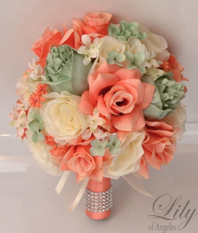17 piece package silk flowers wedding bridal bouquet party bride artificial bouquets decoration. Black Bedroom Furniture Sets. Home Design Ideas