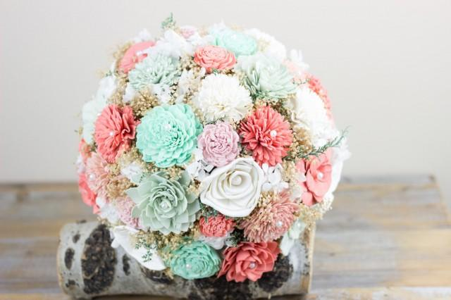 Wedding Bouquet Coral Dusty Mint Pink Bridal Bouquet Sola