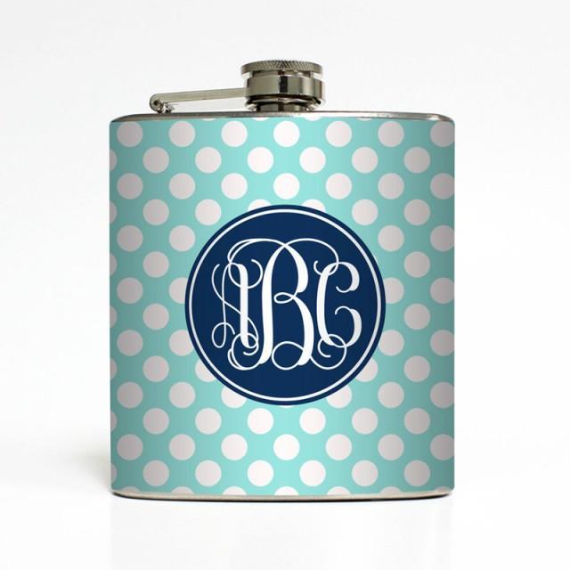 Custom Flask Personalized Polka Dot Vine Fancy Monogram