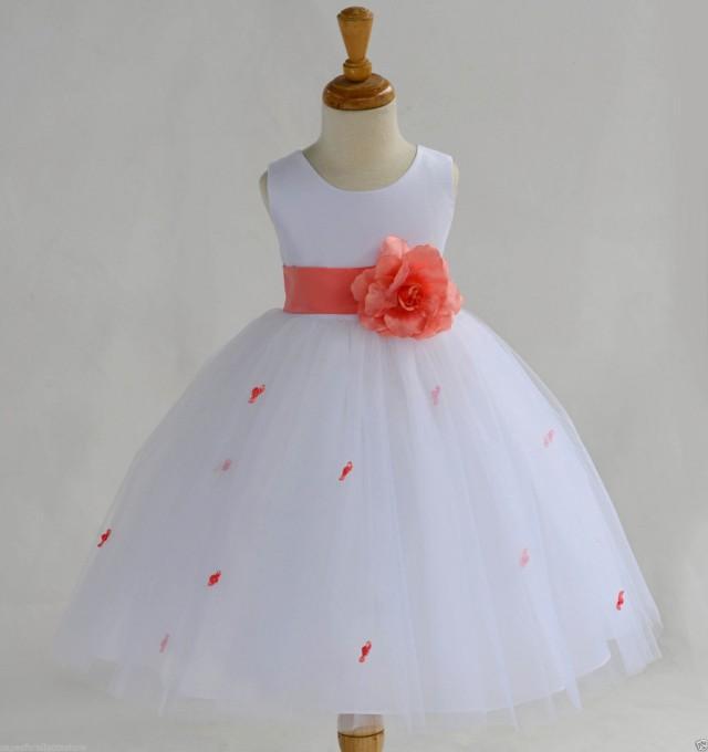 White Coral Rosebud Flower Girl Dress Sash Pageant Wedding