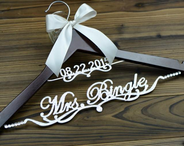 Personalized Wedding Hanger With Date Deluxe Custom Bridal Bride Name Bridesmaid Gift EL020 2434863
