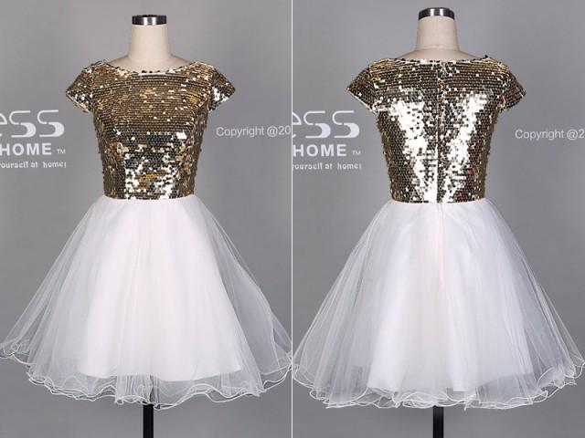 dress Cap and sleeve sequin tulle