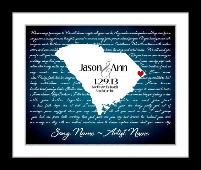Custom Wedding Gift First Dance Lyrics Anniversary Gift Ideas Love State Map Any Song I Wanna Love You Lyric Gift Wall Art Print 2435176 Weddbook