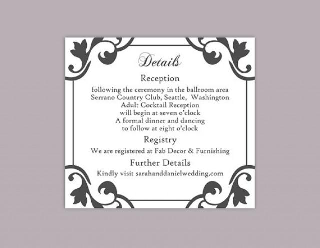 Wedding Invitations Template Word: DIY Wedding Details Card Template Editable Word File