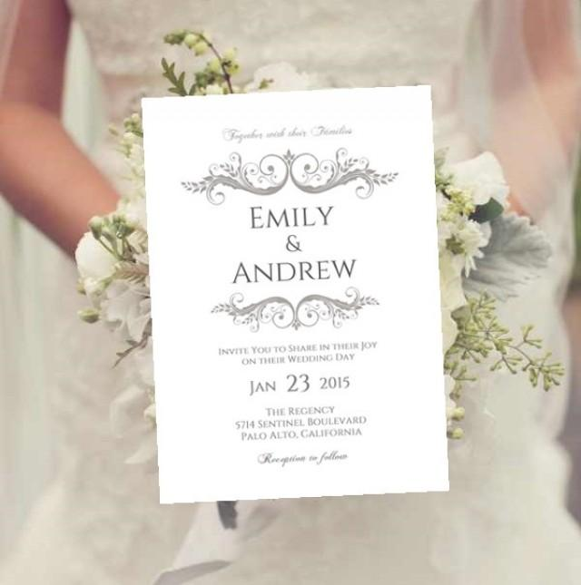 Wedding Invitation Template Charcoal Gray Instant Download