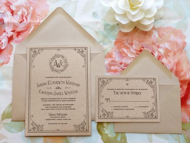 Storybook ending kraft monogram garden wedding invitations for A storybook ending bridal prom salon