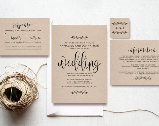 Kraft Wedding Invitation Printable Rustic Invitation Set Cheap Invitation DIY Kraft PDF