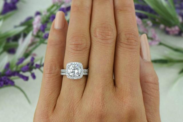 225 Ctw Classic Square Halo Engagement Set Man Made Diamond Simulant Half Eternity Ring Bridal Wedding Rings Sterling Silver 2435529