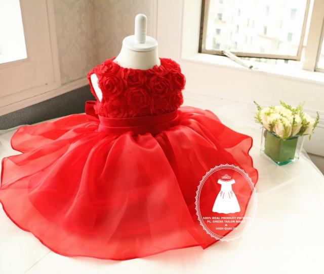 Newborn Girl Dress Hot Red Toddler Christmas DressBirthday 2 Year Old Baby For Birthday Party PD019 3 2435682