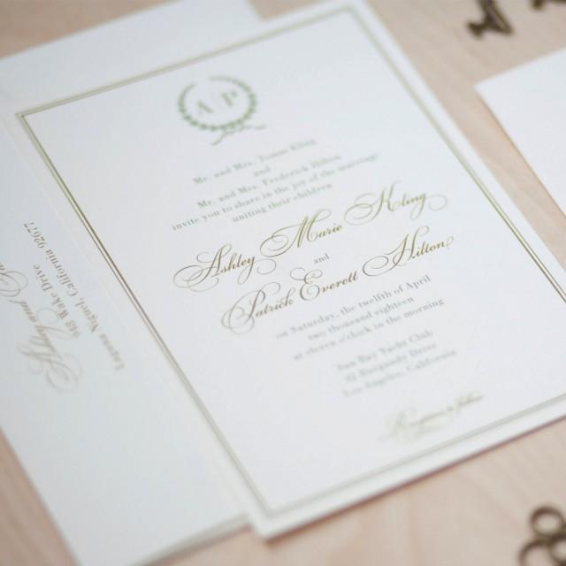 Monogram Wedding Invitation, Sage And Gold Invitation