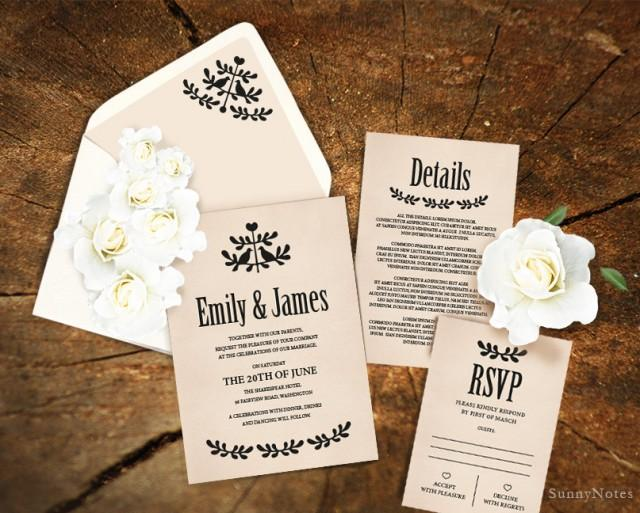 editable rustic wedding invitation template printable wedding invitation wedding rsvp card. Black Bedroom Furniture Sets. Home Design Ideas