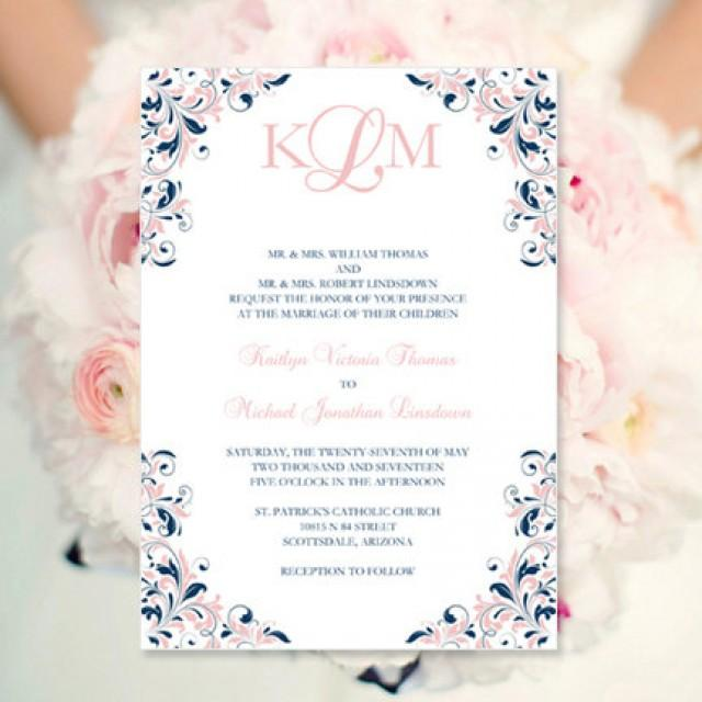 blush pink navy wedding invitation kaitlyn printable template