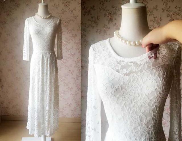 Fashion White Black Lace Dress Plus Size Long Lace Dresses