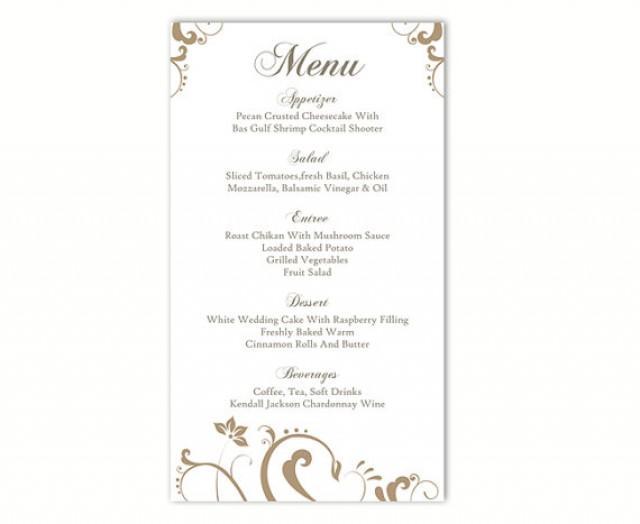 Wedding Menu Template Diy Menu Card Template Editable Text Word File Instant Download Gold Menu Floral Menu Template Printable Menu X Inch