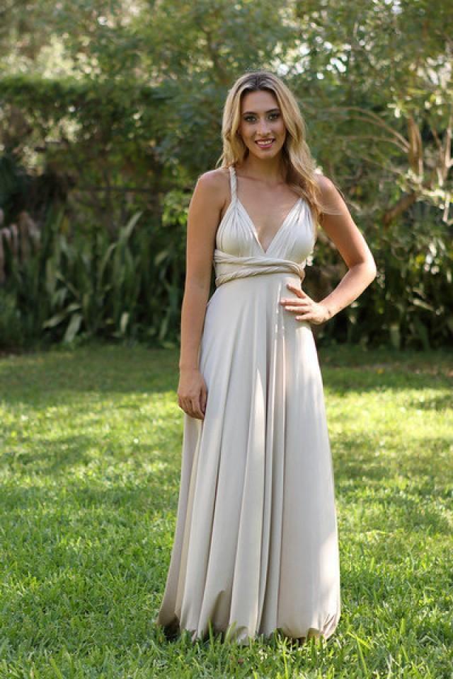 Convertible Dress Maxi Dress Infinity Dress Bridesmaid Maternity Dress Made To Order Champagne 2437371 Weddbook