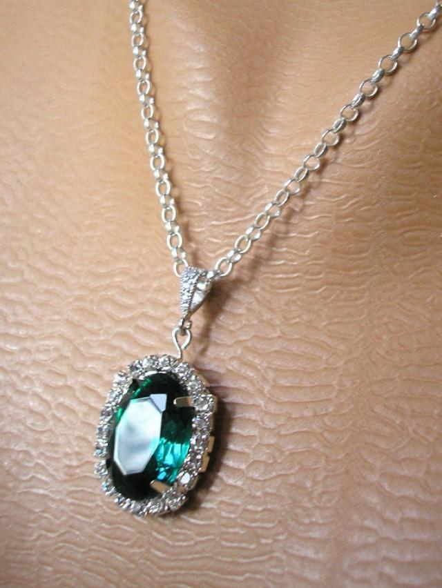 Emerald Pendant Green Rhinestone Necklace Emerald Bridal