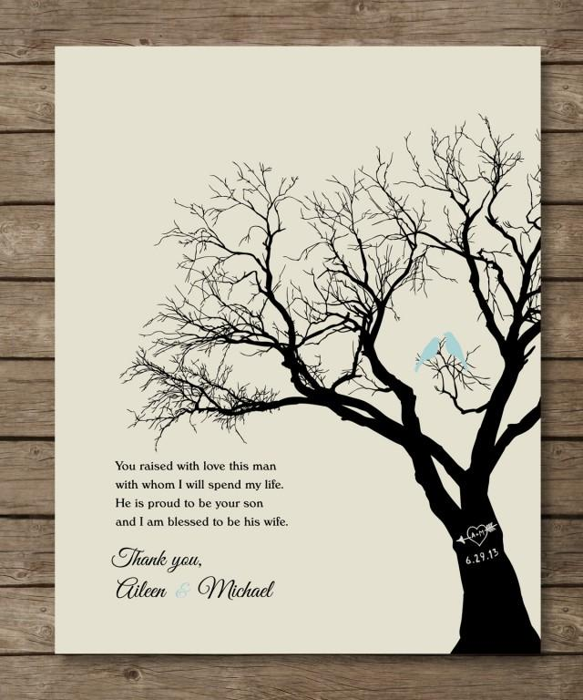 Thank You For Wedding Gift: Parents Of The Groom Gift, Personalized Wedding Tree Print