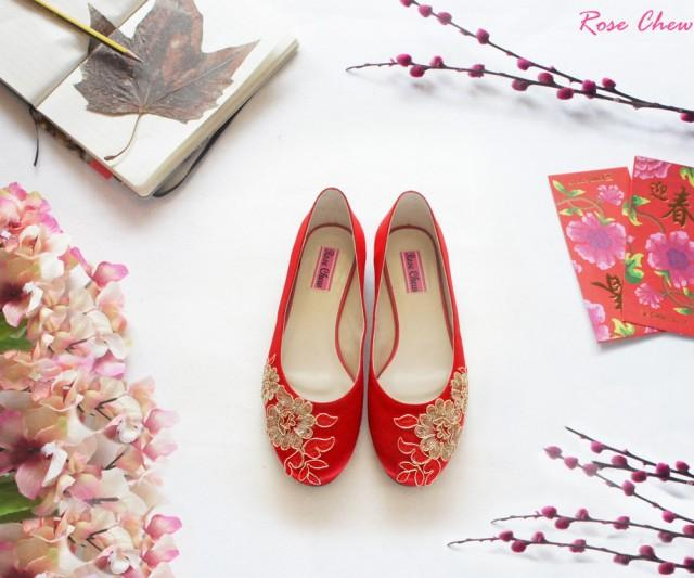 bridesmaid shoes bridal shoes red ballet flats red