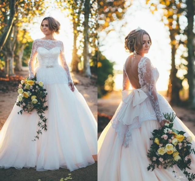Wedding Dress Back Pinterest: Sexy Backless Wedding Dress 2015 Ball Gown Long Sleeve