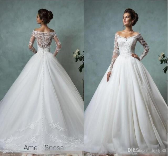 Amelia sposa long sleeves wedding dresses lace bridal for Plus size lace wedding dresses cheap