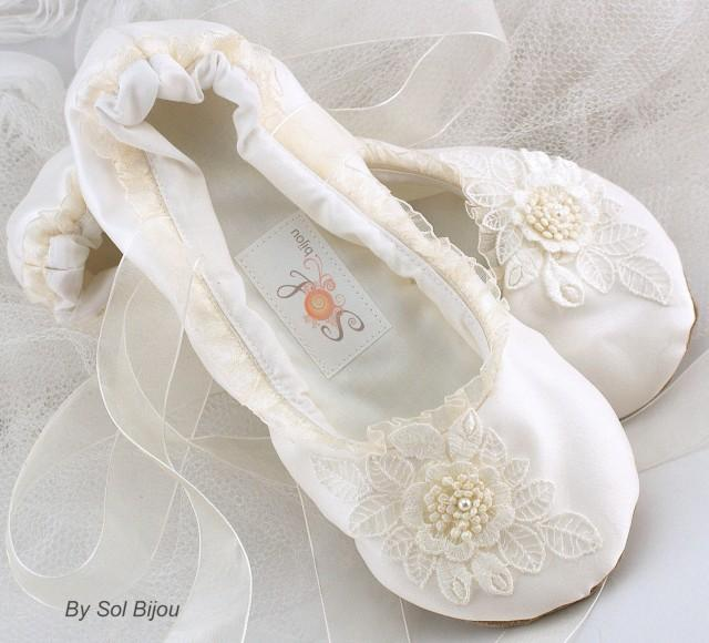 ce16d0a9e80ee Ivory Ballet Flats, Bridal, Wedding, Shoes, Flats, Ballerina ...