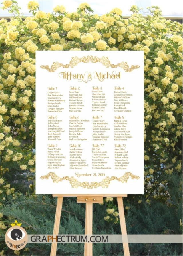 wedding seating chart diy printable floral gold crown