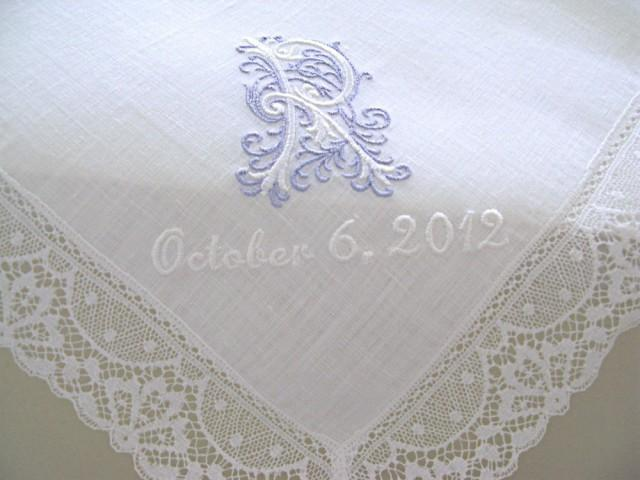 Wedding Handkerchief White Irish Linen Lace Edge