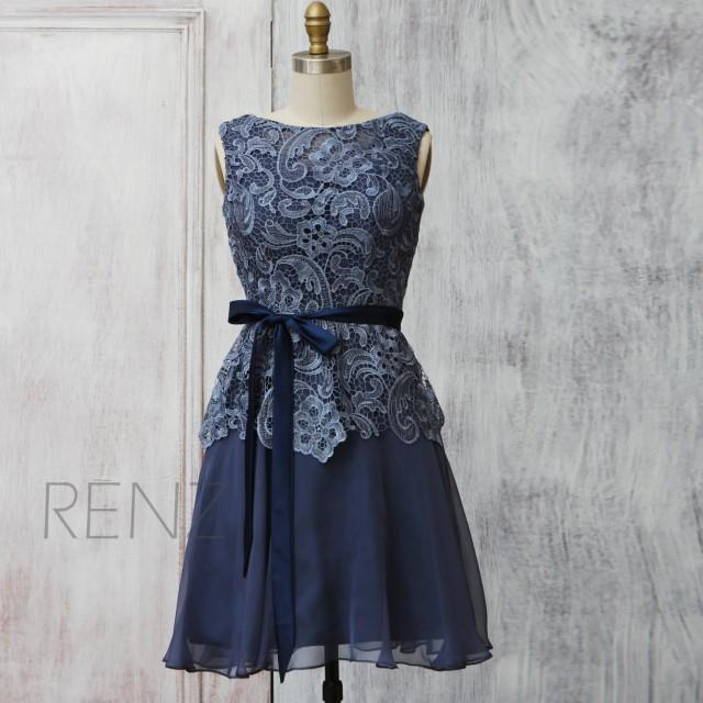 2015 Dark Blue Lace Bridesmaid Dress Blue Wedding Dress Womens